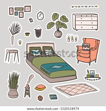 bedroom interior design doodle