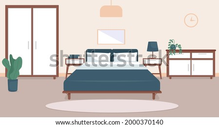 Bedroom interior flat color vector illustration. Cozy living room. Residential lifestyle. Double sized bed. Household room with furniture. Modern home 2D cartoon interior with furnishing on background