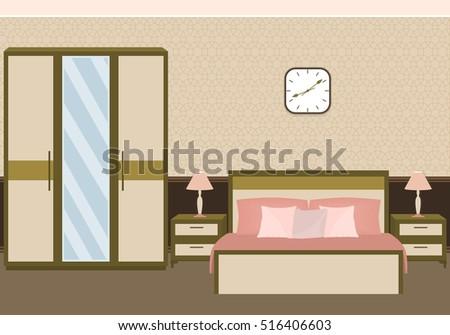 bedroom interior in pastel