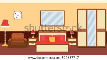 bedroom interior in warm colors