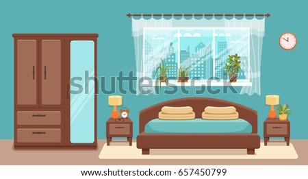 bedroom interior vector
