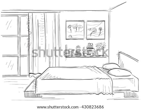 Bedroom InteriorVector Sketchy Illustration Of Modern Room Isolated On White