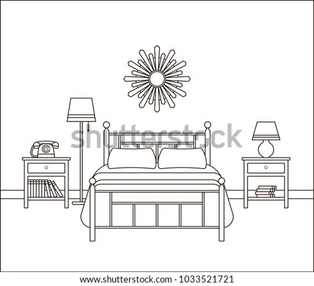 Bedroom Retro Interior Hotel Room With Bed Vector Home Space In Line Art