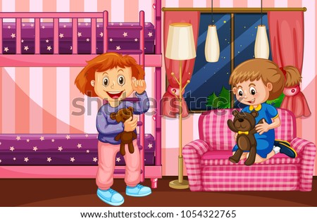 Bedroom scene with two girls and bunkbed illustration