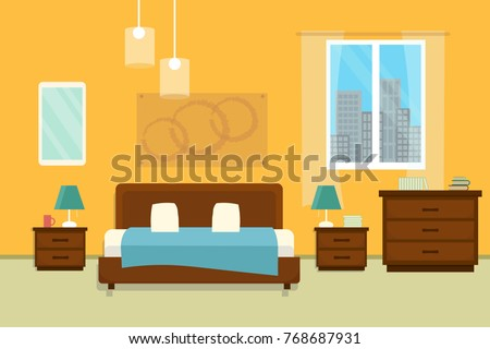 Bedroom with furniture and window. Flat style vector illustration. Cozy interior. Hotel room.