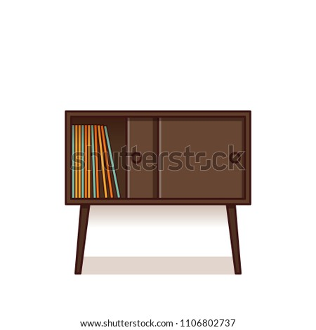 Bedside table, nightstand with vinyl records inside. Vector. Outline furniture icon in flat design. Linear retro illustration in line art style. Vintage house equipment isolated on white background.