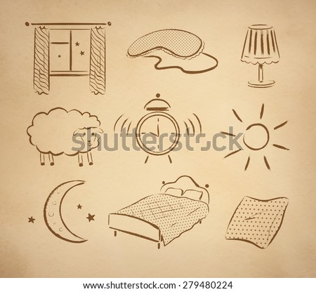 bedtime hand drawn vector set