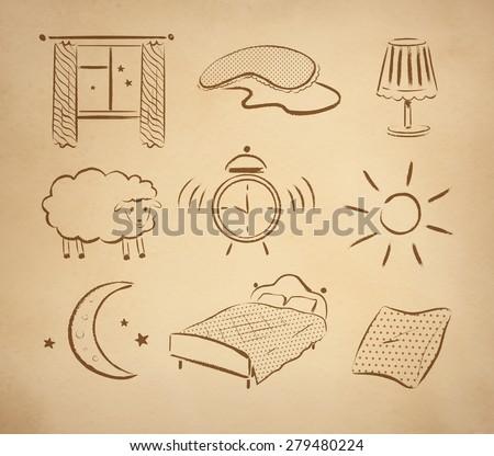 bedtime hand drawn vector set