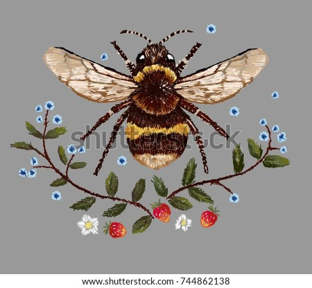 bee and flower embroidery