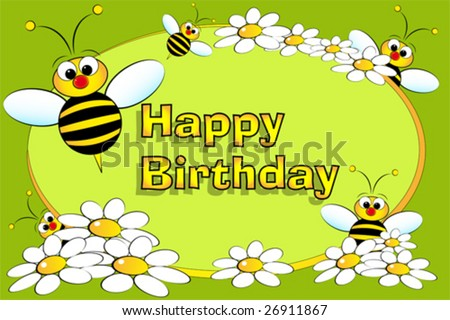 Bee And Flowers - Birthday Card For Kids Stock Vector 2