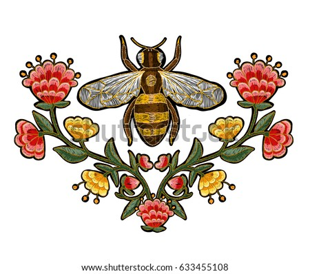 bee and flowers embroidery