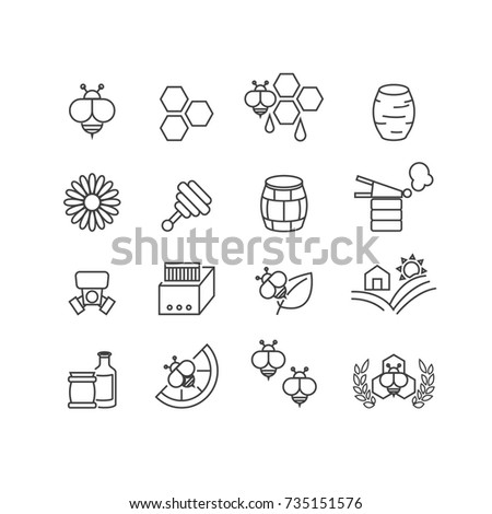Bee and Honey icons set,Vector
