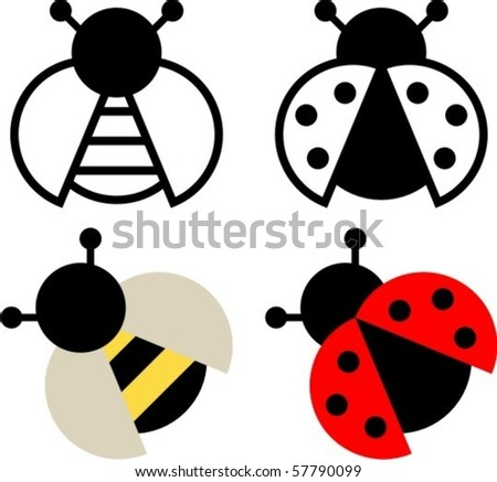 Bee and ladybird sign and symbol