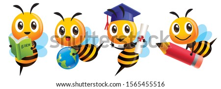 Bee Back to school set. Cartoon cute bee education mascot set. Cartoon cute bee graduation, holding a learning book, carrying a globe earth, carrying a big red pencil - Vector character mascot set