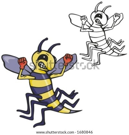 Bee Boxing Mascot for sport teams. Great for t-shirt designs, school mascot logo and any other design work. Ready for vinyl cutting. - stock vector