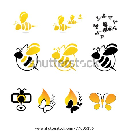 bee butterfly vector