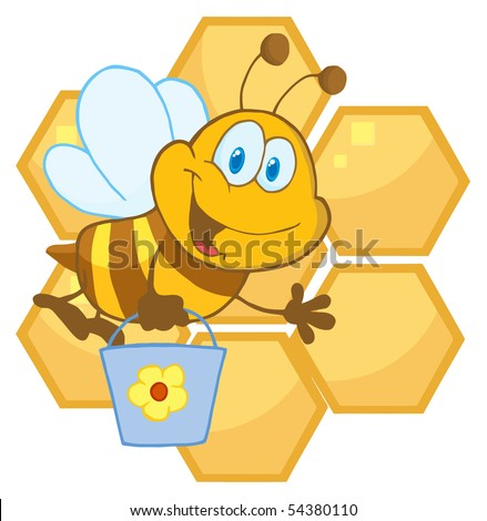 Bee Cartoon Character In Front Of A Orange Bee Hives