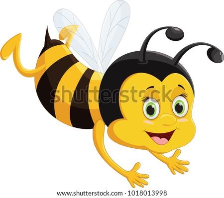 bee cartoon flying  isolated on