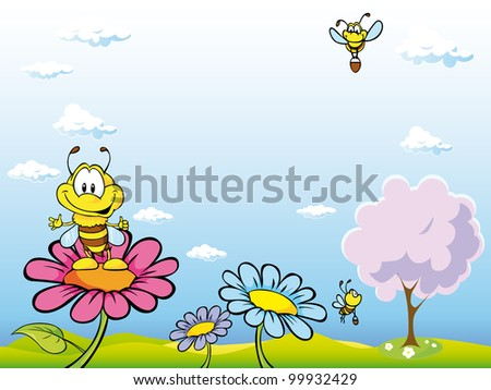 bee cartoon sitting on flower on natural background with blue sky, tree and flowers