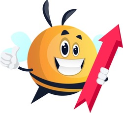 Bee holding red arrow, illustration, vector on white background.