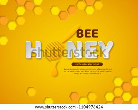 bee honey typographic design