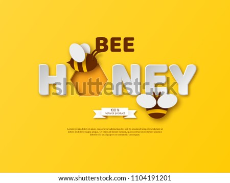 Bee honey typographic design. Paper cut style letters, comb and bee. Template design for beekeeping and honey product. Yellow background, vector illustration.
