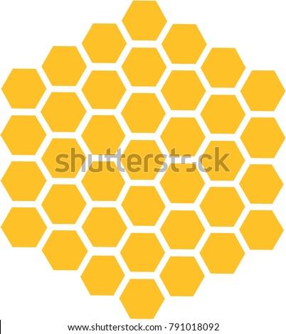 Bee honeycomb with honey in a hexagon