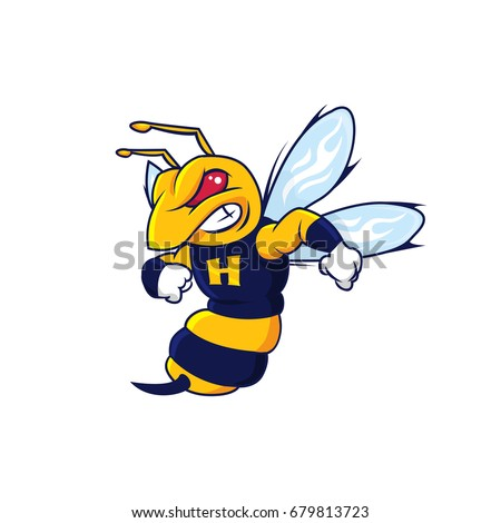 Bee Hornet Mascot isolated on white background Vector Illustration
