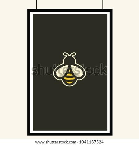 bee icon isolated on dark gray