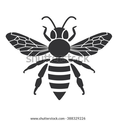 bee icon or silhouette vector