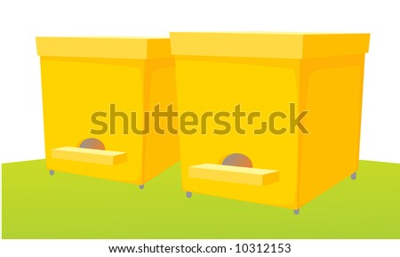 Bee keeping vector illustration, with two wooden beehive on green grass.
