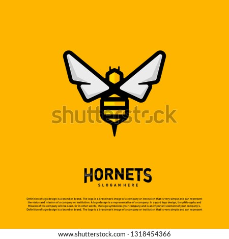 Bee logo design vector. Hornets logo template. Icon symbol
