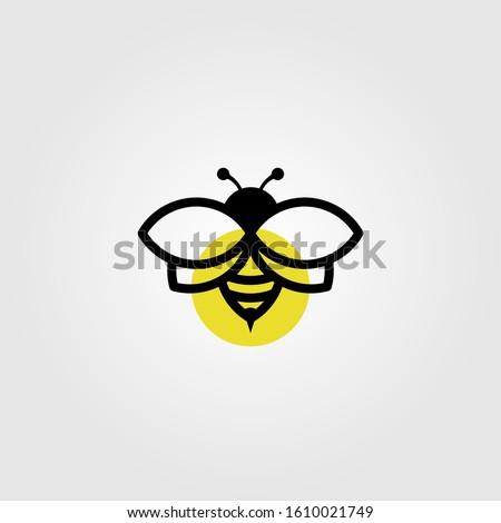 bee logo line art vector in