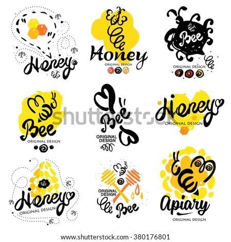 Bee logo. Sweet honey logo. Handmade logotype on the theme of beekeeping. Natural bee products. Logos made by hand ink. Yellow spot of honey with the bee logo. Beehive with bees logo. Honeycomb logo