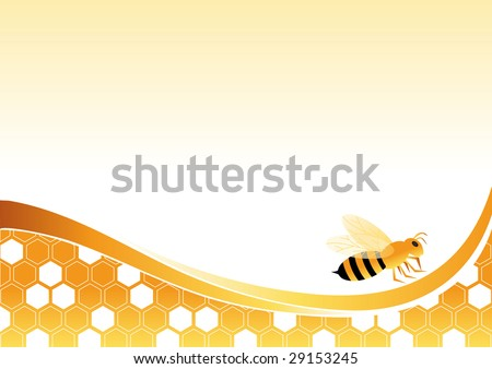 Bee on honey cells vector illustration by BibiDesign