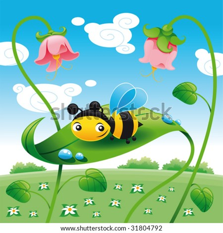 Bee on the leaf leaf. Cartoon and vector illustration