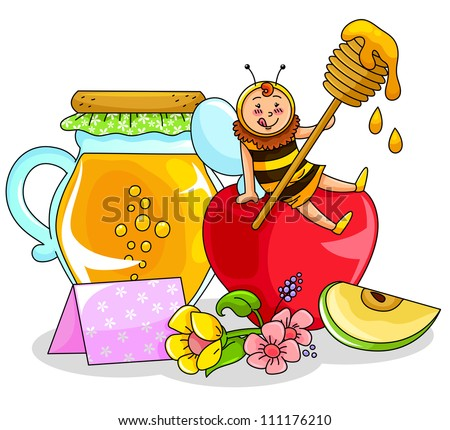 bee sitting on an apple next to a honey jar (symbols of the jewish new year). JPEG available in my gallery.
