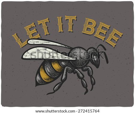 bee vector engraving