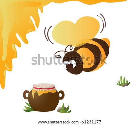 Bee with Heart Wings and Honey Pot