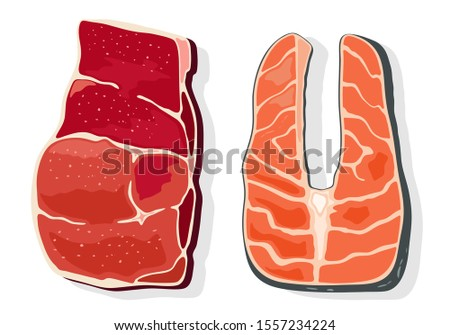 beef and red fish steaks