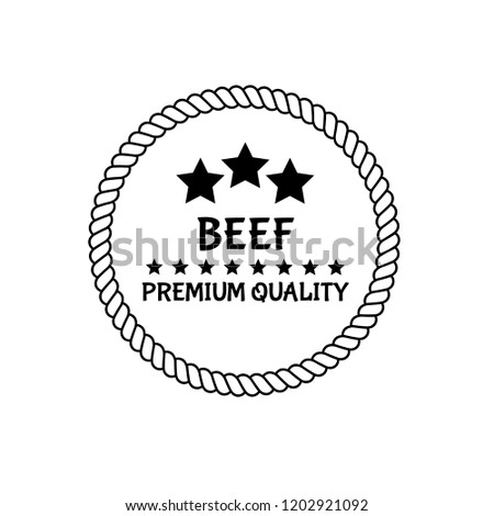 Beef premium quality badge. premium quality package label. vintage stamp. designed for butcher shop