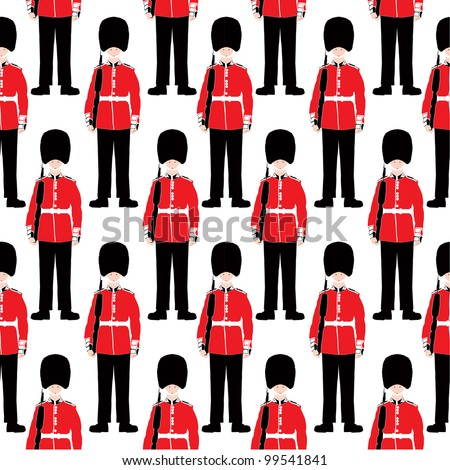 Stock Photo Beefeater soldier seamless vector pattern -  London Symbol - Very detailed, isolated illustration - White background