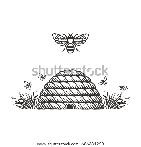 beehive and bees.hand drawn...