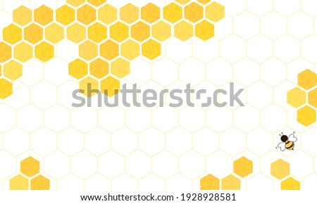 Beehive honeycomb with hexagon grid cells and bee cartoon background vector illustration.