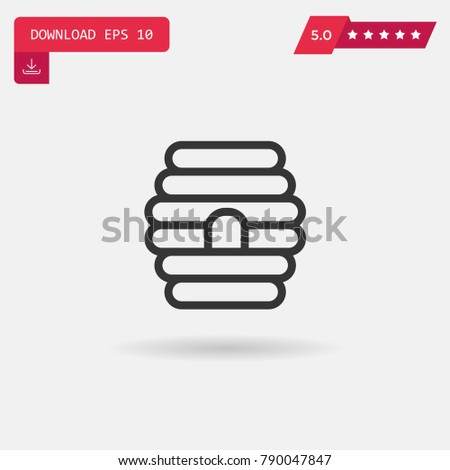 Beehive vector icon. Emblem isolated on white background. Modern simple icon style for graphic and web design, logo. EPS10