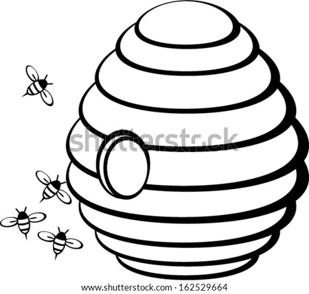 Beehive With Bees Stock Vector Illustration 162529664