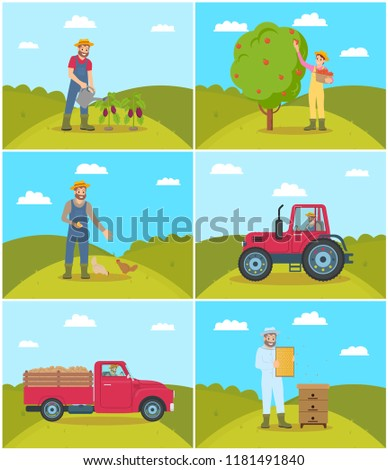 beekeeper and tractor driving