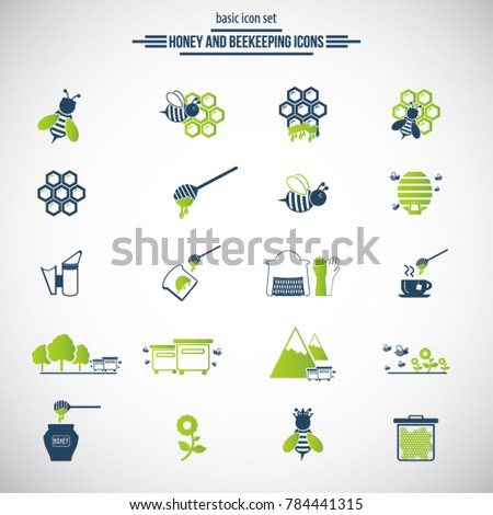 Beekeeping, apiculture icons. Beekeeper equipment, honey processing, honeybee, beehives types, natural products. Bee-garden.