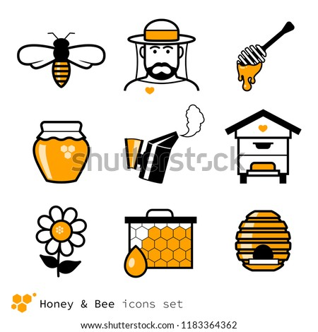 Beekeeping & honey icons set