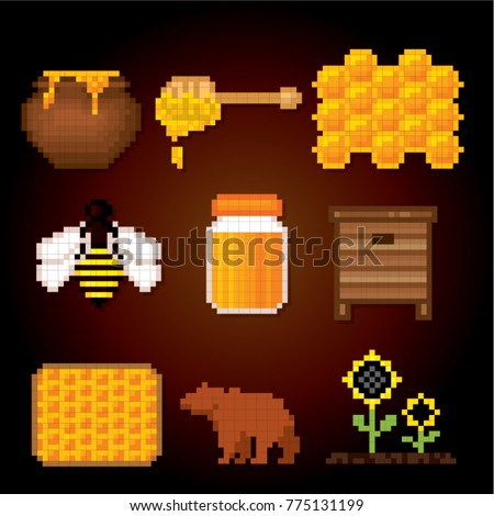 Beekeeping icons. Pixel art. Old school computer graphic style. Games elements.